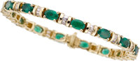 EMERALD, DIAMOND, GOLD BRACELET