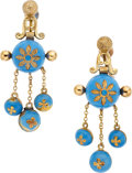 Jewelry, TURQUOISE ENAMEL, GOLD EARRINGS. ...