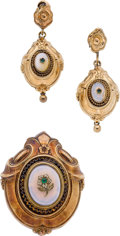 Estate Jewelry:Lots, WHITE CHALCEDONY, GLASS, SILVER GILT, GOLD JEWELRY SUITE. ...