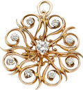 Jewelry, DIAMOND, GOLD PENDANT-BROOCH. ...