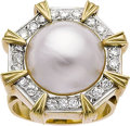 Jewelry, MABE PEARL, DIAMOND, GOLD RING. ...