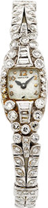 Clocks & Mechanical, HAMILTON LADY'S DIAMOND, PLATINUM WRISTWATCH. ...