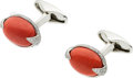 Estate Jewelry:Cufflinks, CORAL, DIAMOND, WHITE GOLD CUFF LINKS, ELI FREI. ...