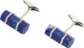 Estate Jewelry:Cufflinks, LAPIS LAZULI, DIAMOND, WHITE GOLD CUFFLINKS, ELI FREI. ...
