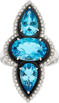 Estate Jewelry:Rings, TOPAZ, ONYX, DIAMOND, WHITE GOLD RING, ELI FREI. ...