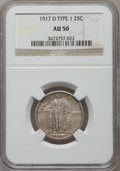 Standing Liberty Quarters: , 1917-D 25C Type One AU50 NGC. NGC Census: (16/484). PCGS Population (52/832). Mintage: 1,509,200. Numismedia Wsl. Price for...