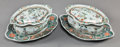 Asian:Chinese, A PAIR OF CHINESE FAMILLE VERTE PORCELAIN COVERED TUREENS WITHUNDERPLATES, late 18th century. 6-1/2 inches high x 13-1/4 in...(Total: 4 Items)