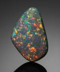 Gems:Cabochons, FINE GEMSTONE: BLACK OPAL - 10.9 CT.. Lightning Ridge, New SouthWales, Australia. ...