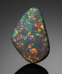 FINE GEMSTONE: BLACK OPAL - 10.9 CT. Lightning Ridge, New South Wales, Australia