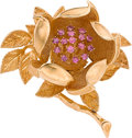 Estate Jewelry:Brooches - Pins, RUBY, GOLD BROOCH...