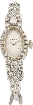 HAMILTON LADY'S DIAMOND, WHITE GOLD, BASE METAL WRISTWATCH