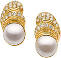 Jewelry, MABE CULTURED PEARL, DIAMOND, GOLD EARRINGS. ...