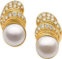 MABE CULTURED PEARL, DIAMOND, GOLD EARRINGS