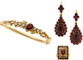 Estate Jewelry:Lots, GARNET, CULTURED PEARL, GOLD, YELLOW METAL JEWELRY. ...