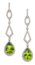 Estate Jewelry:Earrings, PERIDOT, DIAMOND, WHITE GOLD EARRINGS, ELI FREI. ...