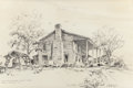 "Texas:Early Texas Art - Modernists, EDWARD MUEGGE ""BUCK"" SCHIWETZ (American, 1898-1984). Old MidwayStagecoach Tavern, Near Chireno, Texas, 1950. Pencil on ..."