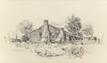 "Texas:Early Texas Art - Modernists, EDWARD MUEGGE ""BUCK"" SCHIWETZ (American, 1898-1984). TheRobertson House, Independence, Texas, 1951. Pencil on paper.10..."