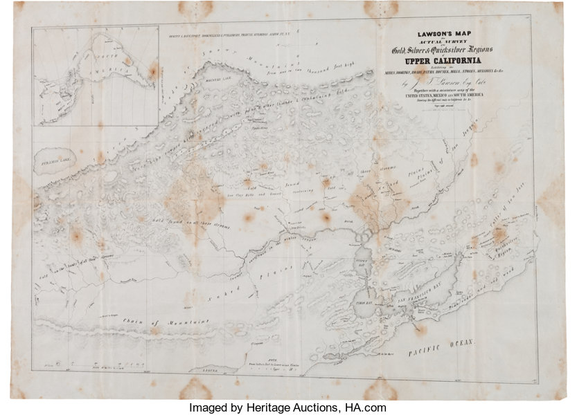 Map Of California During Gold Rush.California Gold Rush Map Published In 1849 Western Expansion