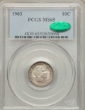 Barber Dimes: , 1903 10C MS65 PCGS. CAC. PCGS Population (25/13). NGC Census:(16/8). Mintage: 19,500,756. Numismedia Wsl. Price for proble...