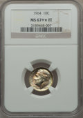 Roosevelt Dimes: , 1964 10C MS67+ ★ Full Bands NGC. NGC Census: (28/0). PCGS Population (22/0). Mintage: 929,299...
