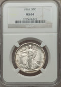 Walking Liberty Half Dollars: , 1916 50C MS64 NGC. NGC Census: (323/218). PCGS Population(410/309). Mintage: 608,000. Numismedia Wsl. Price for problemfr...