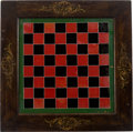Miscellaneous:Gaming Collectibles, A Beautiful and Unusual Reverse Glass Checkerboard....