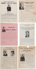 Miscellaneous:Broadside, Six Assorted Wanted Posters.... (Total: 6 Items)