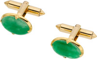 JADEITE JADE, GOLD CUFF LINKS