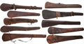 Western Expansion:Cowboy, Great Collection of Ten Old West Leather Rifle Scabbards, All withMaker's Imprints.... (Total: 10 Items)