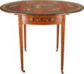 Furniture : English, A SHERATON PAINT DECORATED MAHOGANY PEMBROKE TABLE, 18th century. 28-3/4 x 30 x 20 inches (73.0 x 76.2 x 50.8 cm). ...