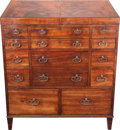 Furniture , A GEORGE III-STYLE FLAME MAHOGANY GENTLEMAN'S TRAVEL DRESSING CABINET, 19th century. 33 x 30 x 21-1/2 inches (83.8 x 76.2 x ...