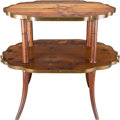 Furniture : French, A FRENCH WALNUT AND MARQUETRY TWO-TIERED TABLE IN TWO PARTS, ÉmileGallé, Nancy, France, circa 1900. Marks: Émile Gallé, E...