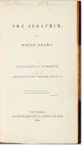 Books:Literature Pre-1900, Elizabeth B. Barrett. The Seraphim, and Other Poems. London:Saunders and Otley, 1838. Modern three-quarter green ca...