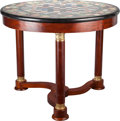 Furniture : French, AN EMPIRE-STYLE MAHOGANY AND GILT BRONZE MOUNTED SPECIMEN MARBLEGAMES TABLE, 20th century. 29 inches high x 37 inches diame...