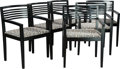 Furniture , A SET OF SIX AMERICAN EBONIZED WOOD AND UPHOLSTERED RICCHIO ARMCHAIRS, Linda and Joseph Ricchio for Knoll, circa... (Total: 6 Items)