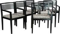 A SET OF SIX AMERICAN EBONIZED WOOD AND UPHOLSTERED RICCHIO ARMCHAIRS, Linda and Jos