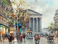 Paintings, ANTOINE BLANCHARD (French, 1910-1988). Place de la Madeleine. Oil on canvas. 13 x 18 inches (33.0 x 45.7 cm). Signed low...