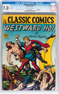 Golden Age (1938-1955):Classics Illustrated, Classic Comics #14 Westward Ho! - Original Edition (Gilberton,1943) CGC FN/VF 7.0 Off-white to white pages....