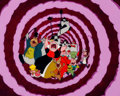 Animation Art:Production Cel, Alice in Wonderland Production Cel Setup and Key MasterBackground (Walt Disney, 1951)....