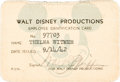 Animation Art:Photograph, Thelma Witmer Walt Disney ID Card and Memorabilia Group (WaltDisney, 1942).... (Total: 2 Original Art)