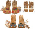 Western Expansion:Cowboy, Western Hide Gloves and Gauntlets: Three Hand-made Beaded Pairs. ... (Total: 3 )