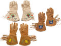 Western Expansion:Cowboy, Three Pairs of Western Beaded Hide Gauntlets.... (Total: 3 )