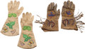 Western Expansion:Cowboy, Western Hide Gauntlets: Two Colorfully Beaded Pairs.... (Total: 2 )