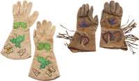 Western Hide Gauntlets: Two Colorfully Beaded Pairs