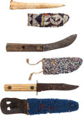 Western Expansion:Indian Artifacts, Three Plains Native American Knives with Beaded Hide Sheaths.... (Total: 3 Items)