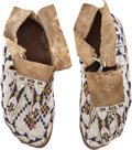 Western Expansion:Indian Artifacts, Plains Indian Beaded Hide Moccasins: A Nice Pair Showing Good Use....