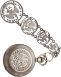 Antiques:Clocks & Watches, Exceptional Mexican Silver Pocket Watch and Elaborate Fob....