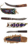 Western Expansion:Indian Artifacts, Three Plains Indian Knives with Beaded Hide Sheaths.... (Total: 3 Items)
