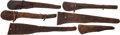 Western Expansion:Cowboy, Six Well-Used Western Leather Rifle Scabbards.... (Total: 6 )