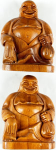Books:Furniture & Accessories, [Bookends]. Matching Pair of Smiling and Prosperous BuddhaHand-Carved Wooden Bookends. A few mild surface rubs. Eachmeasur... (Total: 2 Items)